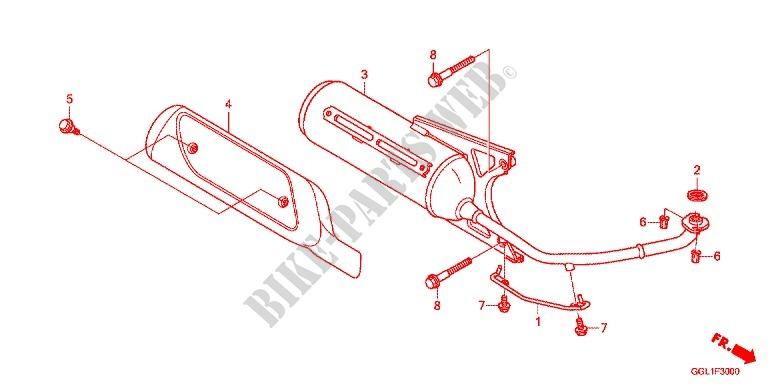 EXHAUST MUFFLER 2 Frame NCH50E 2014 GIORNO 50 SCOOTER Honda