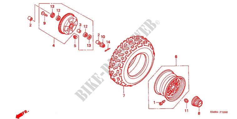 Rear Wheel For Honda Fourtrax 250 Recon Standard 2005   Honda Motorcycles  U0026 Atvs Genuine Spare