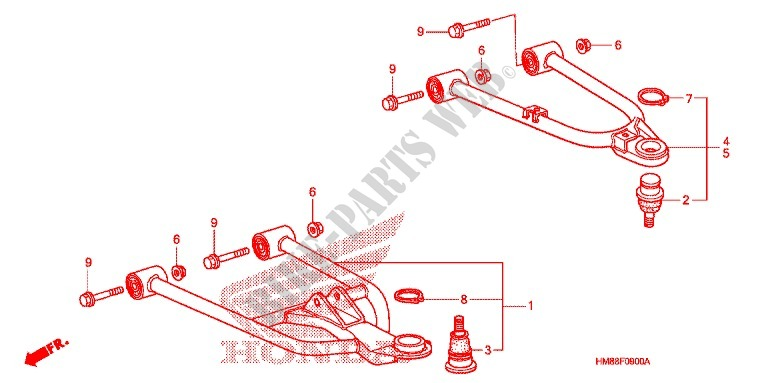 honda atv 250 fourtrax 2009 trx250tm9 frame front arm