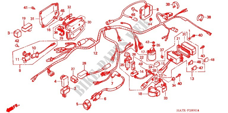 honda atv 350 fourtrax 1994 trx350r frame wire harness/battery