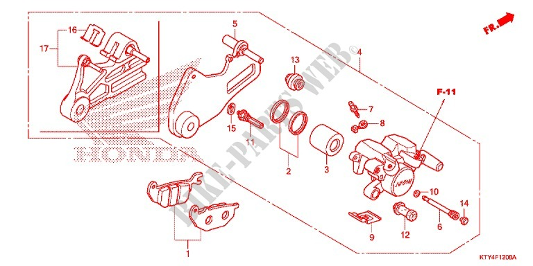 Rear Brake Caliper Frame Cbr125rw8 Cm 2008 Cbr 125 Moto Honda
