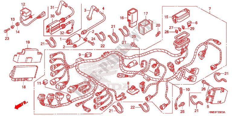 Wire Harness  Battery For Honda Fourtrax 680 Rincon 2011