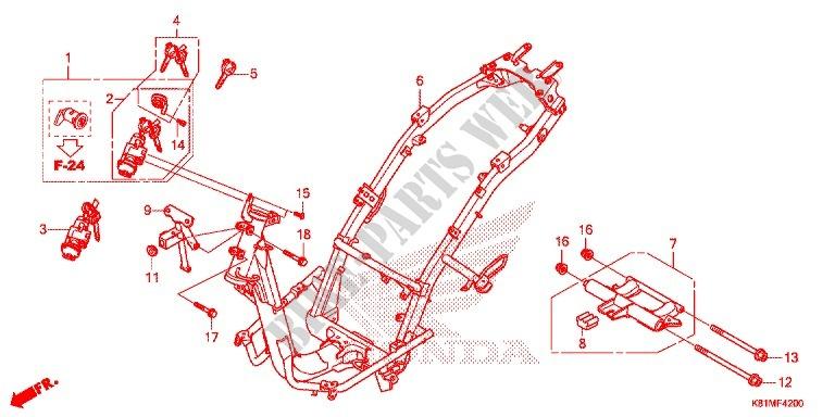 Frame For Honda Beat 110 2017   Honda Motorcycles  U0026 Atvs Genuine Spare Parts Catalog
