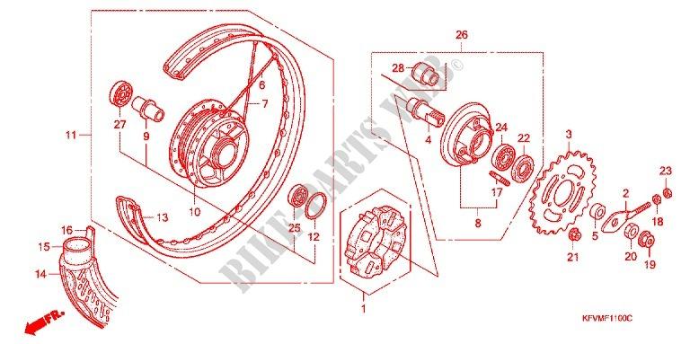 honda moto 100 c100 2003 c1003_ma frame rear wheel