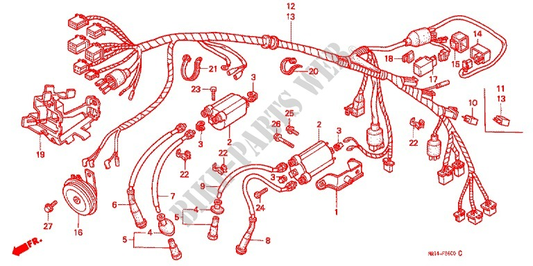 Wire Harness  Battery For Honda Shadow 600 Vlx Deluxe 1994