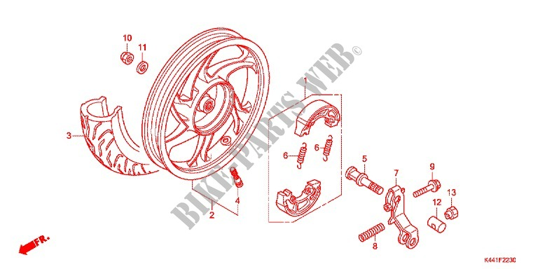 Rear Wheel For Honda Dio 110 2017   Honda Motorcycles  U0026 Atvs Genuine Spare Parts Catalog