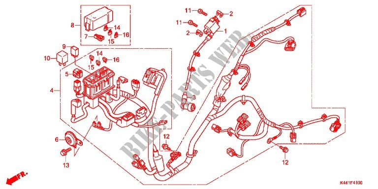 Wire Harness Battery For Honda Dio 110, Honda Dio Scooter Wiring Diagram