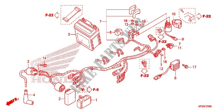 WIRE HARNESS/BATTERY for Honda SPORTRAX TRX 90 2017 # HONDA Motorcycles &  ATVS Genuine Spare Parts Catalog | Trx90 Wiring Harness |  | Bike Parts-Honda