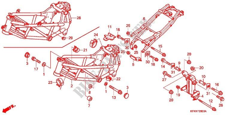 FRAME BODY Frame VTR250B 2011 VTR 250 MOTO Honda motorcycle # HONDA ...