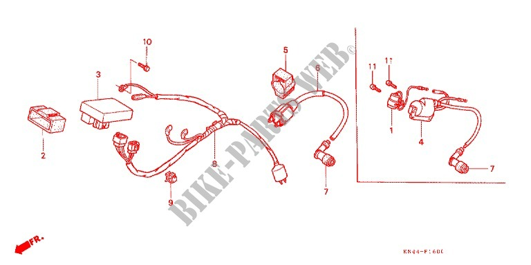 Wire Harness  Battery For Honda Xr 100 1985   Honda