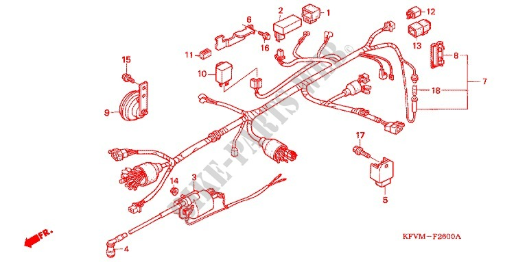 wire harness/battery - ex5 dream 100, electric start c100mb_ma, Wiring diagram