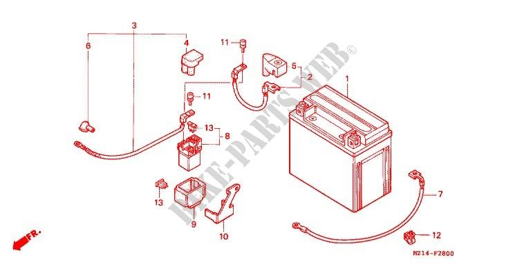 honda moto 1000 cb 1994 cb1000fr frame wire harness/battery