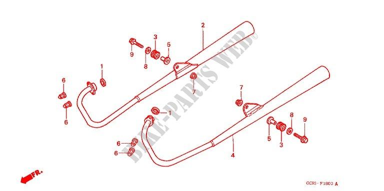 exhaust muffler 2 frame cb50v 1998 cb 50 moto honda motorcycle honda z50 1974 honda moto 50 cb 1998 cb50v frame exhaust muffler (2)