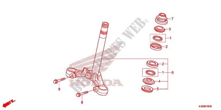 Steering Stem For Honda Cbf 160 Unicorn 2015   Honda