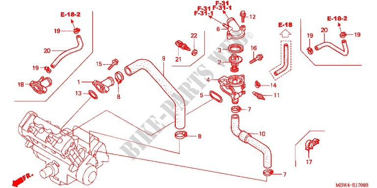 Thermostat For Honda Cbr 600 F4 2000   Honda Motorcycles