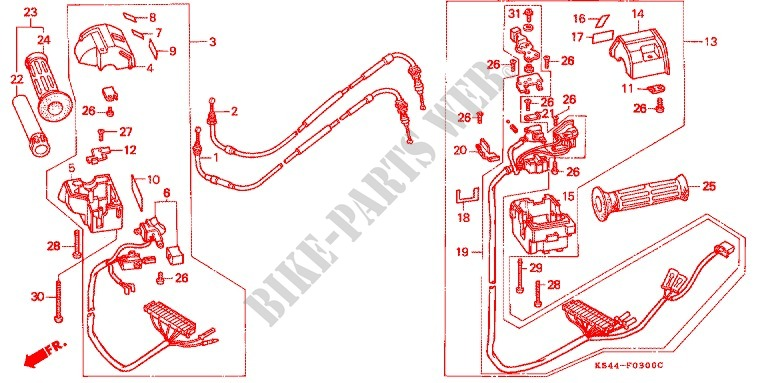 HANDLE SWITCH LEVER CABLE GRIP for Honda CN 250 HELIX 1994 ... on