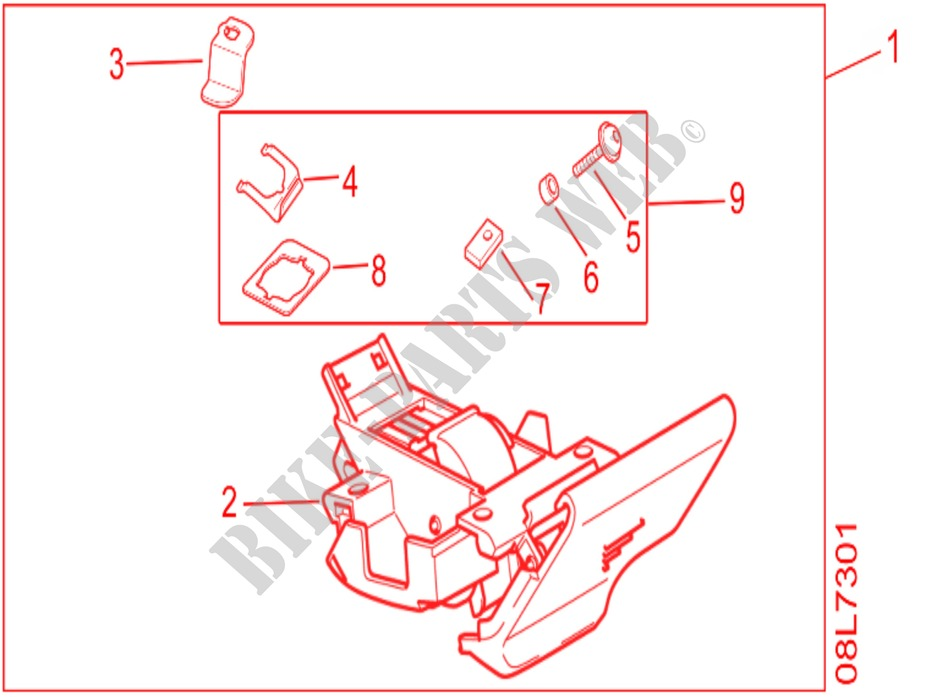 Kit Top Box Lock For Honda Africa Twin 1000 Dct White 2017
