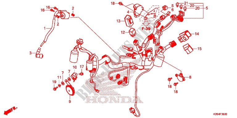 WIRE HARNESS/BATTERY for Honda GROM 125 2015 # HONDA ... on