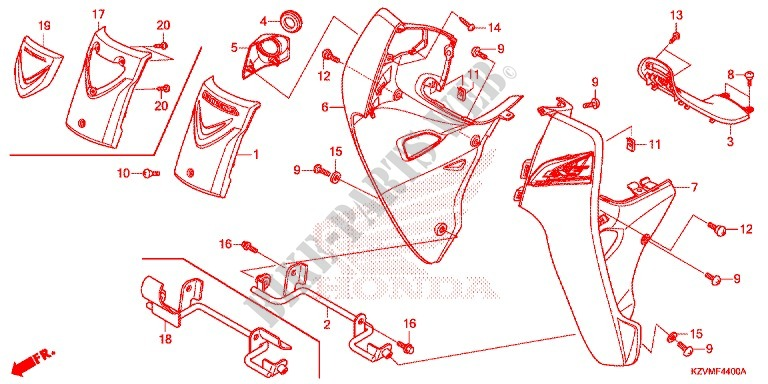 FRONT COWL LEG SHIELD for    Honda       DREAM    110    EX5    Electric start  carburetor 2014      HONDA