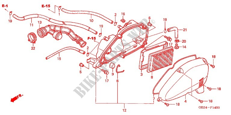 FILTRE A AIR 03 05 Frame NPS50S5 A 2005 RUCKUS 50 SCOOTER Honda ...