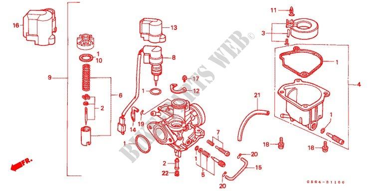 carburetor op kit cr85r34 rb34 engine sb50j 1988 elite 50 scootercarburetor o p kit (cr85r3,4 rb3,4) for honda 50 elite 1988