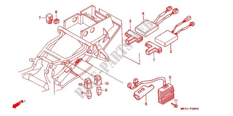 honda moto 750 vfr 1990 vfr750rl_a frame wire harness/ ignition coil/c d i   unit