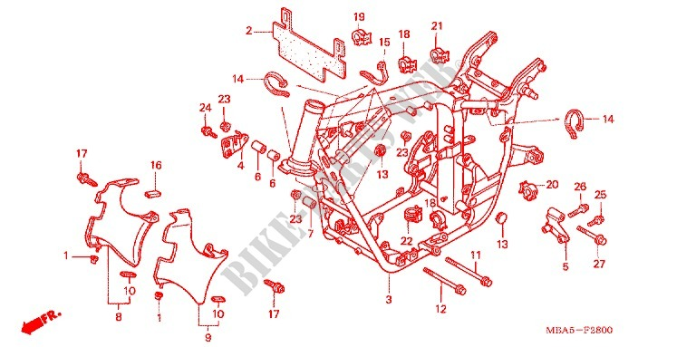 Frame For Honda Shadow Vt 750 Deluxe Ace Red Paint Scheme With Silver Pinstripe 2003   Honda