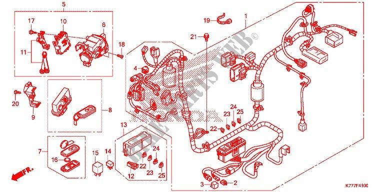 Wire Harness  Battery For Honda Sh 125 Abs D E 2017   Honda Motorcycles  U0026 Atvs Genuine Spare