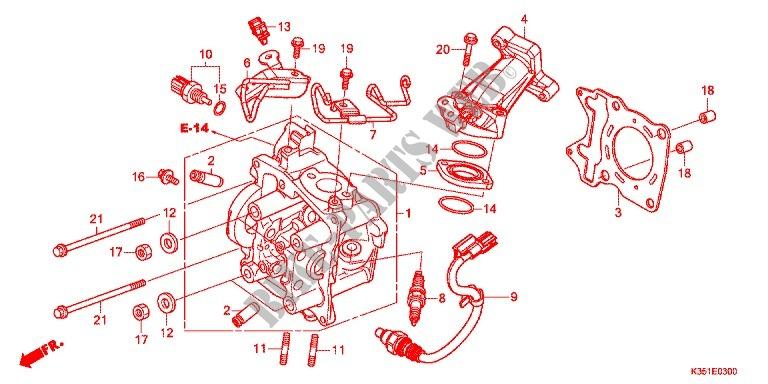 Cylinder Head For Honda Pcx 125 2015   Honda Motorcycles