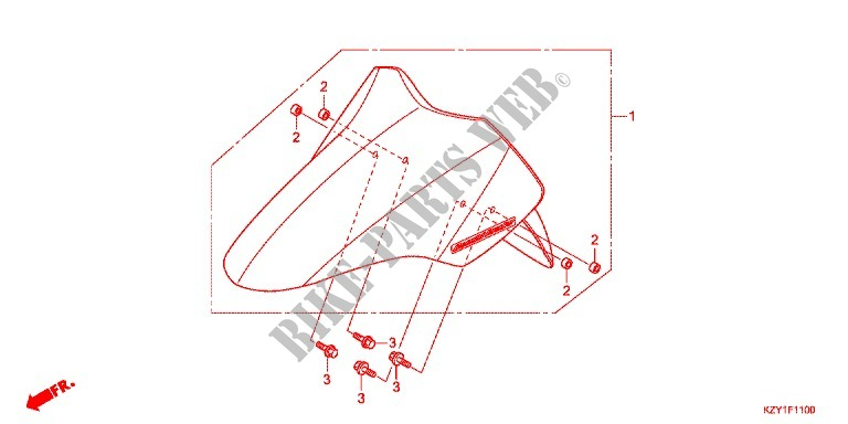 Front Fender For Honda Pcx 150 Black 2014   Honda