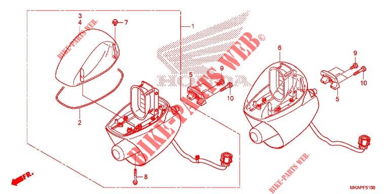 Rotary Patrol Light  Dk  2dk  Mo  For Honda Nc 750 Police Yb